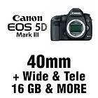 Canon 5D Mark III DSLR Body + 3 Lens: 40mm + Wide + Tele + 16GB & MORE
