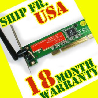 802.11g Wireless PCI Network Lan WIFI Adapter Card for PC Desktop NEW