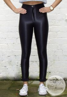 High Waisted Shiny American Apparel Style Disco Pants Leggings Black S