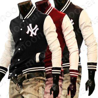 Korean Mens Baseball Tops T Shirt Long Sleeve Casual Outwear Coat