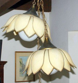 Pair Vintage SLAG TULIP LOTUS LIGHT STAINED GLASS HANGING LAMPS