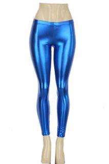 Tight Faux Leather Liquid Wet Stretch Metallic Leggings Pants S M L