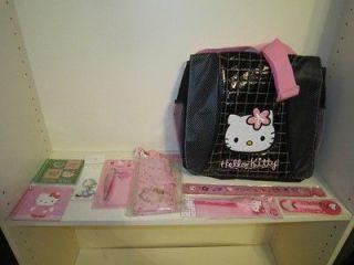 Kitty Toy Sanrio Messenger Bag Purse, Ruler, Keychain, Pens, Notebooks
