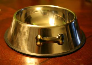 STAINLESS STEEL PET BOWL dog food water dish non slip base metal