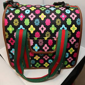 PRETTY MULTOCOLORE PATTERNS PET DOG CAT CARRIER BAG 13 X 8.5 X9 NEW