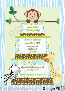 Printable Cake Monkey Photo Invitation First Any Birthday Baby Shower