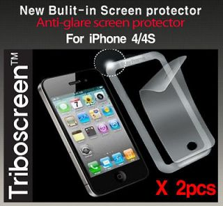 2x Built in Anti glare/Matte Screen protector iPhone 4 4S Zagg /Case