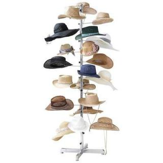New Floor Display Retail Hat Cap Rack Rotating Spinner Stand Chrome