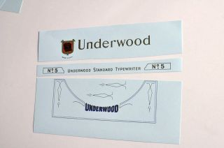 Underwood No5 typewriter waterslide DECAL set