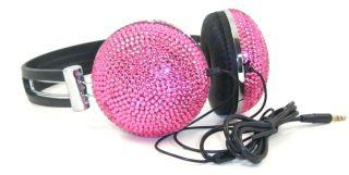 Pink Crystal Rhinestone Bling DJ Over Ear Headphones Headset Earphones