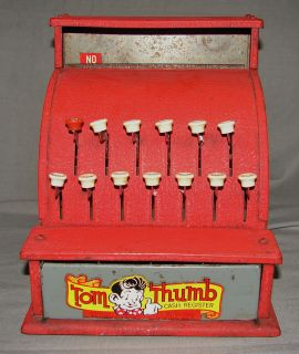 THUMB TOY CASH REGISTER ~ RED METAL ~ LABEL ON DRAWER ~ BELL RINGS