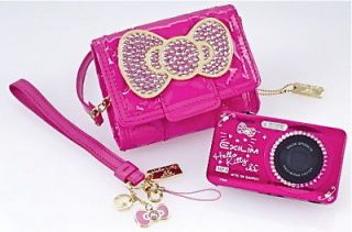 HELLO KITTY HOT PINK FUCHSIA CASIO LIMITED CAMERA SWAROVSKI BOW POUCH