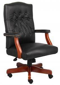 Boss B915 Black Leather Executive Chair with Cherry