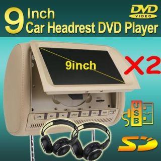 car headrest dvd players 9 beige