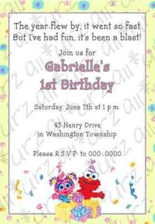 Baby Abby Cadabby & Elmo Custom Invitations 5x7   Printable!