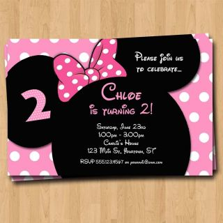 Minnie Mouse Birthday Invitation   Party Invites Custom Photo Mickey