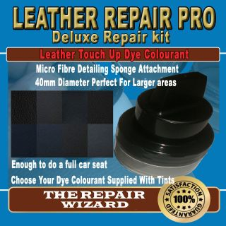 BLACK Leather Repair Pigment Dye Kit With Unique Applicator Sponge All