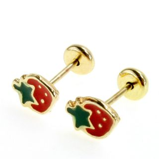 Earrings Small Red Strawberry Toddler Baby Girl High Security Safety