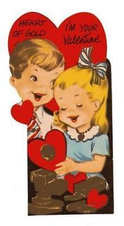 Vintage Valentine Card Gold Bullions Boy & Girl Die Cut Die Cut for