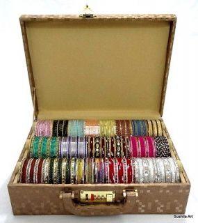 Indian Metal Bangles w/ Free Hard Board Bangles Storage Box Size 2.8