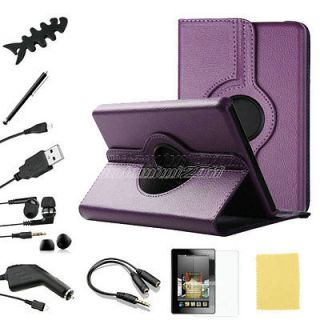 10in1 For Kindle Fire PU Leather Case Cover/Car Charger/USB Cable
