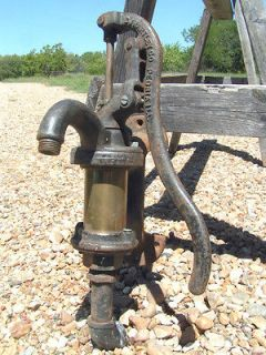 Antique Cast Iron Hand Well Water Pump BRASS CJ Hartley Peoria IL NON