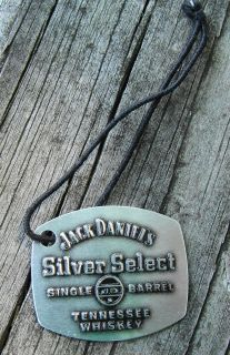 Jack Daniels Silver Select Single Barrel Tenn. Whiskey Metal Hang Tag