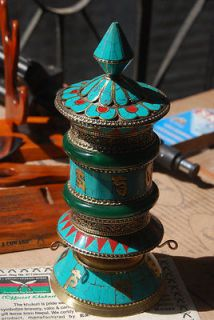 Very Artistic Tibetan Buddhist Table Top Prayer Wheel,Turquois​e