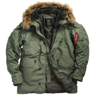 Alpha Industries N 3B Slim Fit Cotton Parka   Black, Olive Green