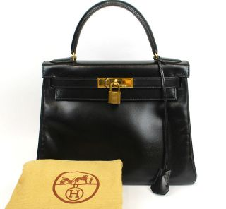 Authentic Hermes KELLY 28 Black Box Calf Leather Gold HW Hand Bag