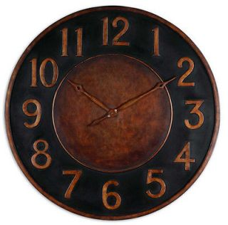 Large 36 Tuscan Matera Wall Clock Black Rust Bronze Iron French