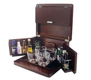 Mini Liquor Bar Whiskey Set Shot Glasses Brookstone