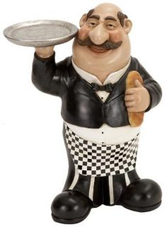 Fat French Waiter Chef Serving Tray & Bread Bistro Kitchen Decor