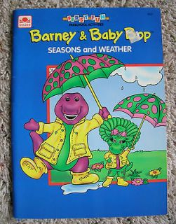 HTF Rare BARNEY Dinosaur Baby Bop Friends Golden Coloring Book 1993