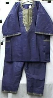 Men Brocade African Clothing Pant Suit Royal Purple Doesnt Come M L