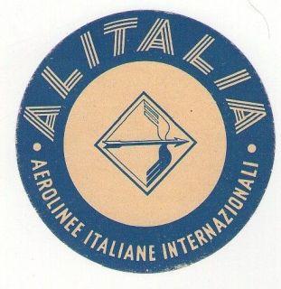 VINTAGE ORIGINAL ITALY ALITALIA AIRLINES LUGGAGE LABEL