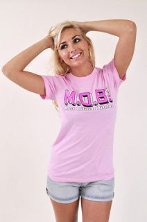 NEW WOMENS MARRIED TO THE MOB 1982 NYC LIGHT BABY PINK TEE T SHIRT