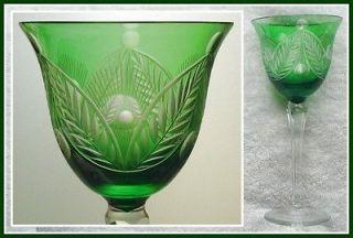 EMERALD GREEN Wine Glass Goblet Hock CUT TO CLEAR CRYSTAL German VEB