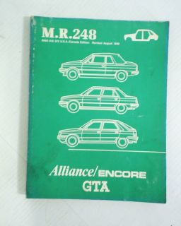 Renault Alliance Encore GTA MR 248 Service Shop Body Repair Manual OEM
