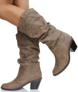 Womens Western Cowboy Mid Calf Boots Taupe
