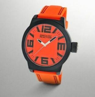 Kenneth Cole Reaction Orange & Black Field Watch Rubber Strap RK1257