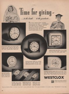 1950 VINTAGE WESTCLOX MADE BY BIG BEN CLOCK TIME FOR GIVING PRINT AD