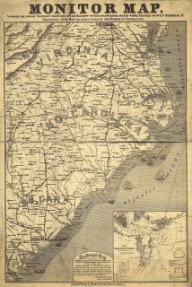 Civil War Monitor Map Seacoast Chesapeake Bay