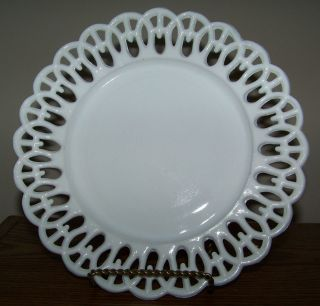 Vintage Plate White Milk Glass Lattice Trim 8 3/4 Decorative Art