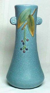 WELLER POTTERY, CORNISH BLUE FLOWER VASE, ARTS & CRAFTS~~