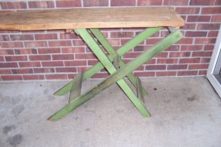 Vintage Antique Primitive Wooden Folding Wood Ironing Board With Old