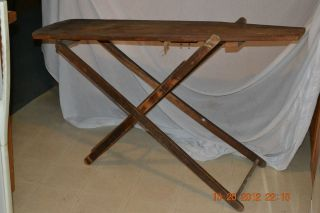 Antique 1890s wood Iron Ironing board Primitive Rustic Country