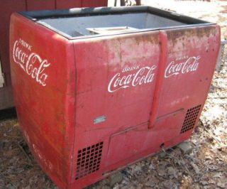 ANTIQUE COCA COLA SODA COOLER MACHINE ART SIGN COKE TABLE COUNTER