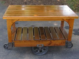 Antique Cast Iron Lineberry Cart Restored Cherry Wood Kitchen Island