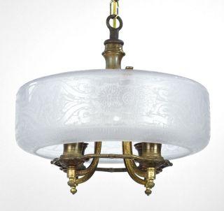 Antique Chandelier Art Deco Brass Gold Nouveau Glass Slip Shade
